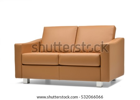 Side view of Brown leather sofa  isolated on white background #532066066