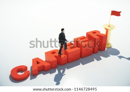 Side view of businessman climbing abstract red career ladder on white background. Growth and leadership concept. 3D Rendering