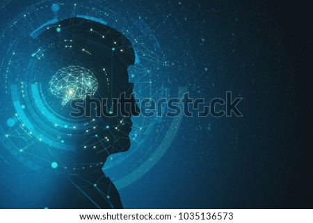 Side view of businessman silhouette with polygonal brain. Artificial intelligence and science concept. Doouble exposure