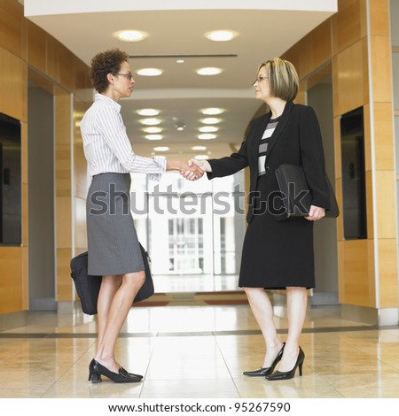 Side view of businesswomen shaking hands