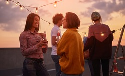 Side view of cheerful females with alcohol drinks enjoying conversation while standing on terrace with garlands in evening of background of friends