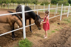 Side view of child girl petting horse at ranch. Kid standing near the white fence in the stable and stroking horse, countryside, Active family weekend lifestyle. Local getaway with kids. Staycation