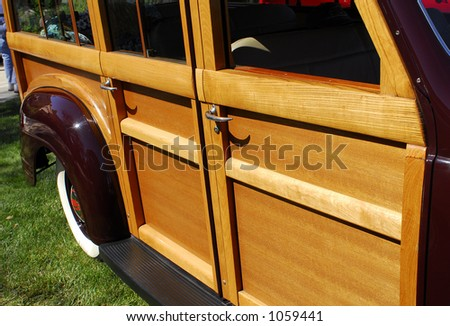 Side view of classic 'woody' station wagon