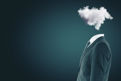 Side view of cloud headed businessman on blue background with copy space. Computing and confused concept