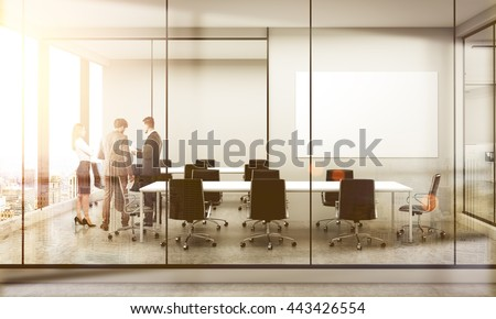 Side view of conference room interior with blank whiteboard, discussing businesspeople, furniture, city view and sunlight. Double exposure. Mock up, 3D Rendering