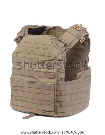 Side View of Desert Tan Military Bulletproof Vest Stock photo ©