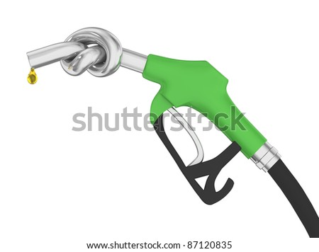 side view of fuel nozzle tied in a knot with droplet of fuel, Isolated on a white background.