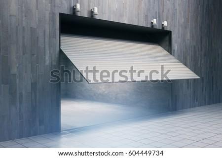 Side view of garage with opening door. 3D Rendering