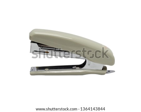 side view of gray stapler of office stationery isolated on white background