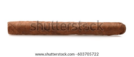 Side view of hand rolled cigar isolated on white