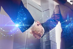 Side view of handshake with business chart on abstract background. Teamwork, finance and forex concept. Double exposure