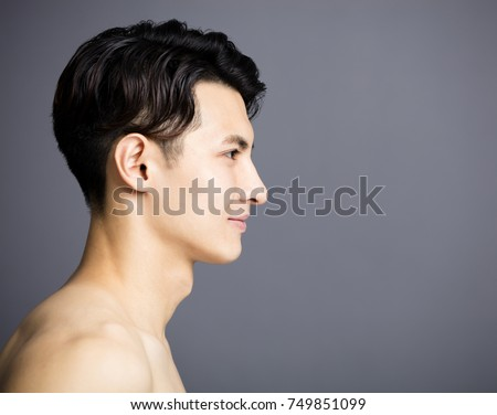 side view of Handsome young men face