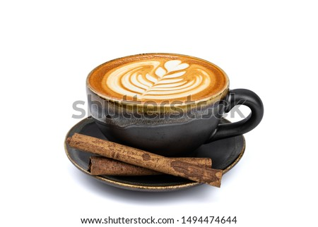 Side view of hot latte coffee with latte art and cinnamon sticks in a vintage matt black cup and saucer isolated on white background with clipping path inside. Image stacking techniques. #1494474644