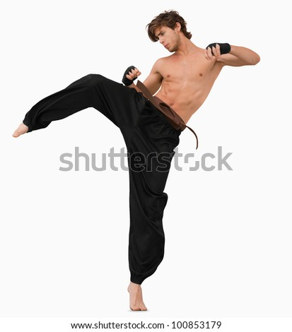 Side view of kicking martial arts fighter against a white background
