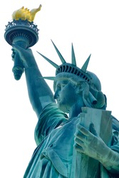 Side view of lady liberty holding the everlasting torch