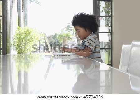 Side view of little boy using laptop at dining table