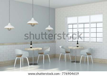 Side view of loft cafe interior with furniture, window and lamps. 3D Rendering  #776904619