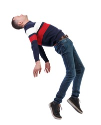 Side view of man in zero gravity or a fall. guy is flying, falling or floating in the air. Side view people collection.  side view of person.  Isolated over white. The guy in jeans falls on his back.