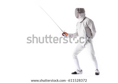 Side view of man wearing fencing suit practicing with sword isolated on white