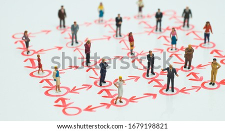 Side view of miniature - social distancing, anti-social, interconnection or team work concept.
