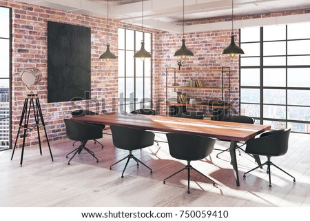 Side view of modern red brick loft conference room interior with empty poster, equipment and city view. Mock up, 3D Rendering