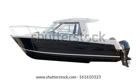Side view of motor boat. Isolated over white background