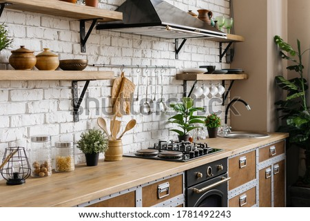 Side view of new furniture, wooden countertop, gas stove, built in oven equipment, cooking hood, kitchenware supplies, houseplant in flower pot at kitchen in apartment with modern interior