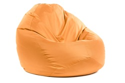 Side view of new soft enjoyable and adjustable colorful beanbag chair. Concept of comfortable indoor or outdoor contemporary furniture. Studio shot isolated on a white background with a clipping path