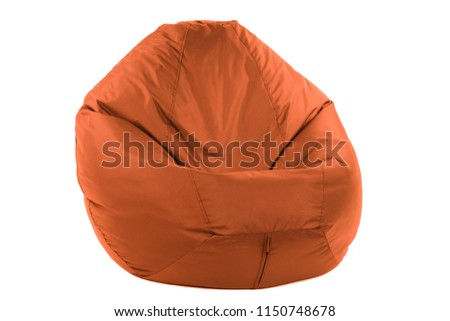 Side view of new soft enjoyable and adjustable colorful beanbag chair. Concept of comfortable indoor or outdoor contemporary furniture. Studio shot isolated on a white background with a clipping path #1150748678
