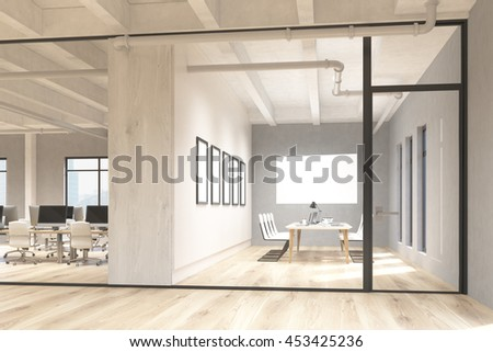 Side view of office and conference room interior with blank whiteboard behind glass doors. Mock up, 3D Rendering