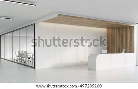 Side view of office corridor with reception desk, laptops and long conference room with glass wall. Concept of office culture. 3d rendering. Mock up.