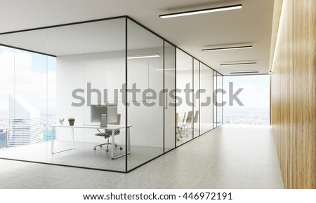 Side view of office interior with blank whiteboard behind glass doors, hallway with concrete floor, wooden wall, ceiling and panoramic windows with New York city view. Mock up, 3D Rendering