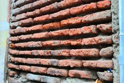 Side view of old brickwork