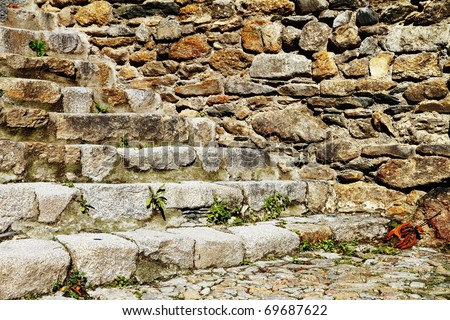 Side view of old stone stairs - stock photo