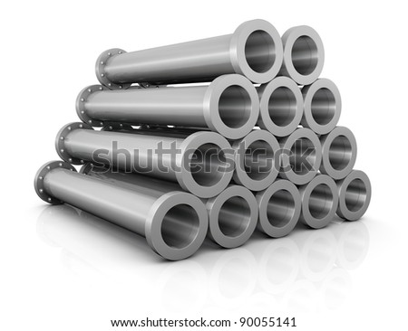 side view of one stack of steel tubes (3d render)