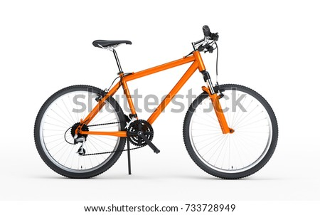 Side view of orange sport bike looks to the right isolated on white background. 3d illustration