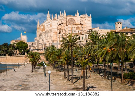 Side view of Palma de Majorca Cathedral, Balearic Islands, Spain.