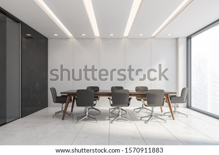 Side view of panoramic conference room with white and black marble walls, tiled white floor and long table with gray chairs. Concept of discussion and corporate life. 3d rendering