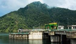 Side view of Randenigala dam, sri Lanka