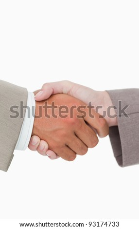 Side view of shaking hands closing a deal against a white background - stock photo
