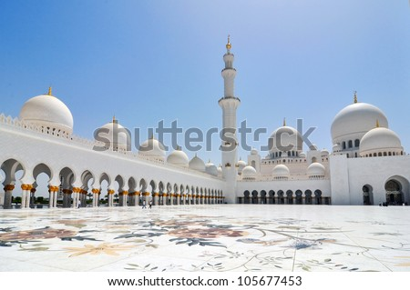 Side view of Sheikh Zayed mosque in Abu Dhabi. The third biggest mosque in the world.