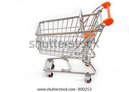 Side view of shopping cart on white background- oher views available