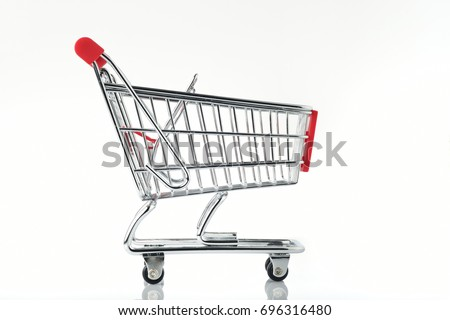Side View of Shopping Cart On White Background Shot In Studio #696316480