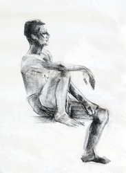 side view of sitting human charcoal drawing