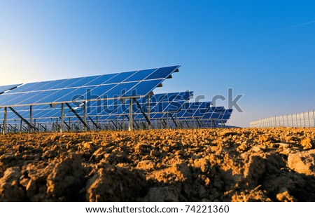 Side view of solar panels for power production.