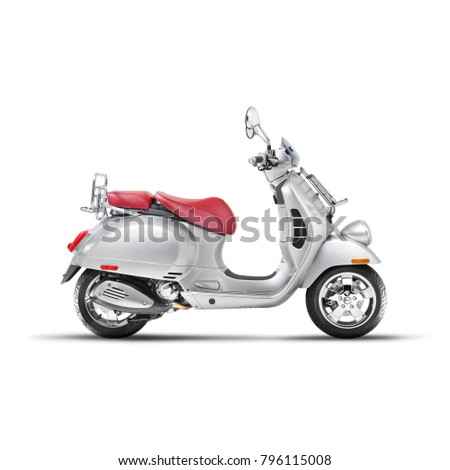Side View of Steel Retro Scooter Isolated on White Background. Vintage Motor Scooter. Metallic Electric Scooter. Motorcycle with Red Seat Cover. Modern Personal Transport. Classic Scooter