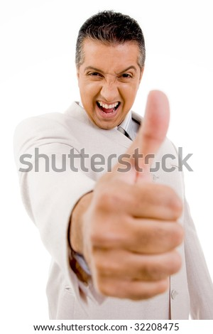 side view of successful businessman showing thumb up with white background