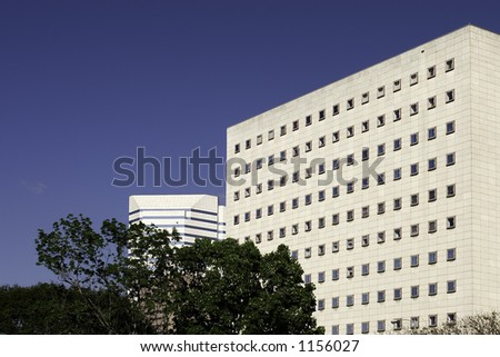 Side view of the Bob Casey Federal Courthouse in downtown Houston, Texas.