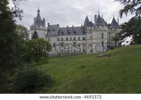 Side view of the castle Chaumont-sur-Loire. Loire Valley, France