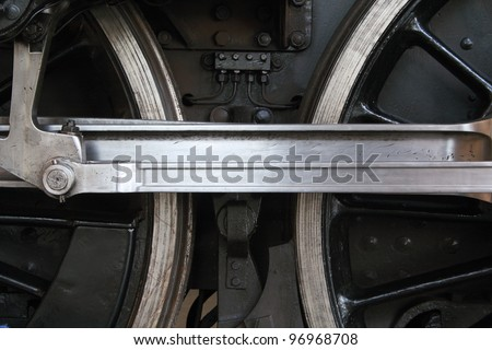 Side view of the connecting rod and wheels on a steam locomotive